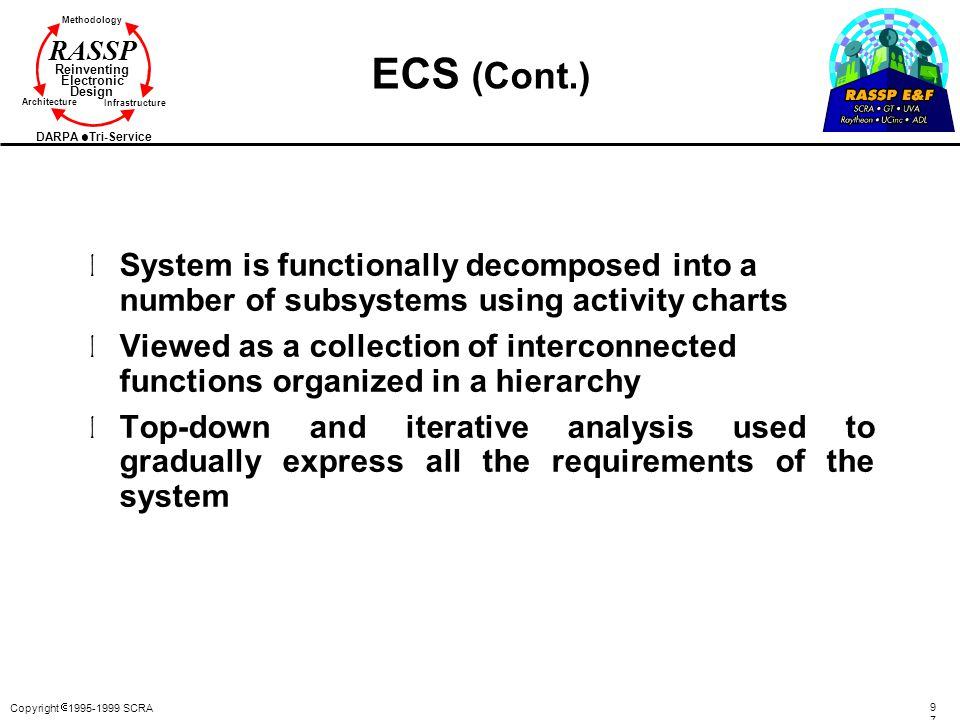 ECS (Cont.) System is functionally decomposed into a number of subsystems using activity charts.