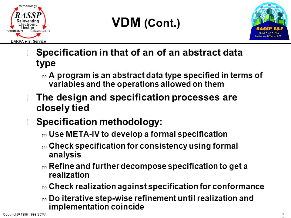 VDM (Cont.) Specification in that of an of an abstract data type