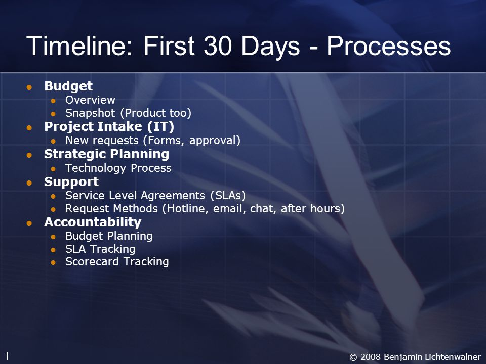 Timeline: First 30 Days - Processes