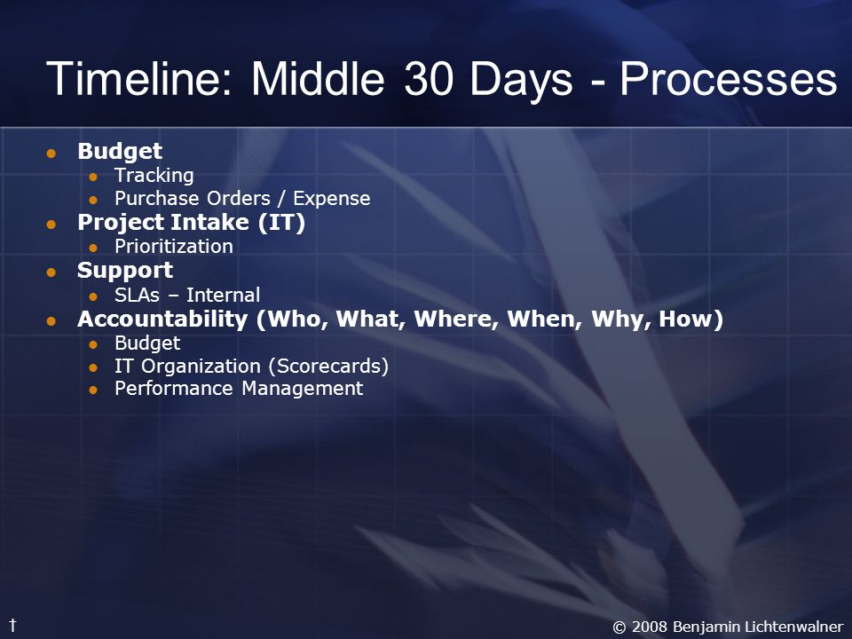 Timeline: Middle 30 Days - Processes