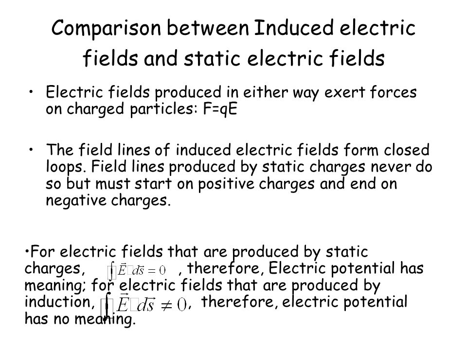 Comparison between Induced electric fields and static electric fields