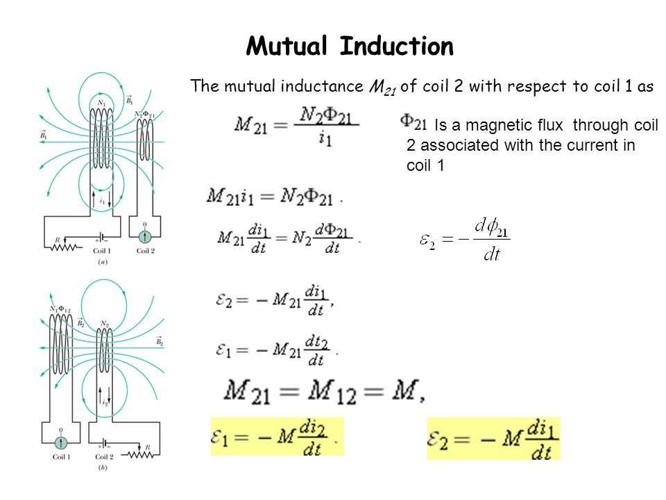 Mutual Induction The mutual inductance M21 of coil 2 with respect to coil 1 as.