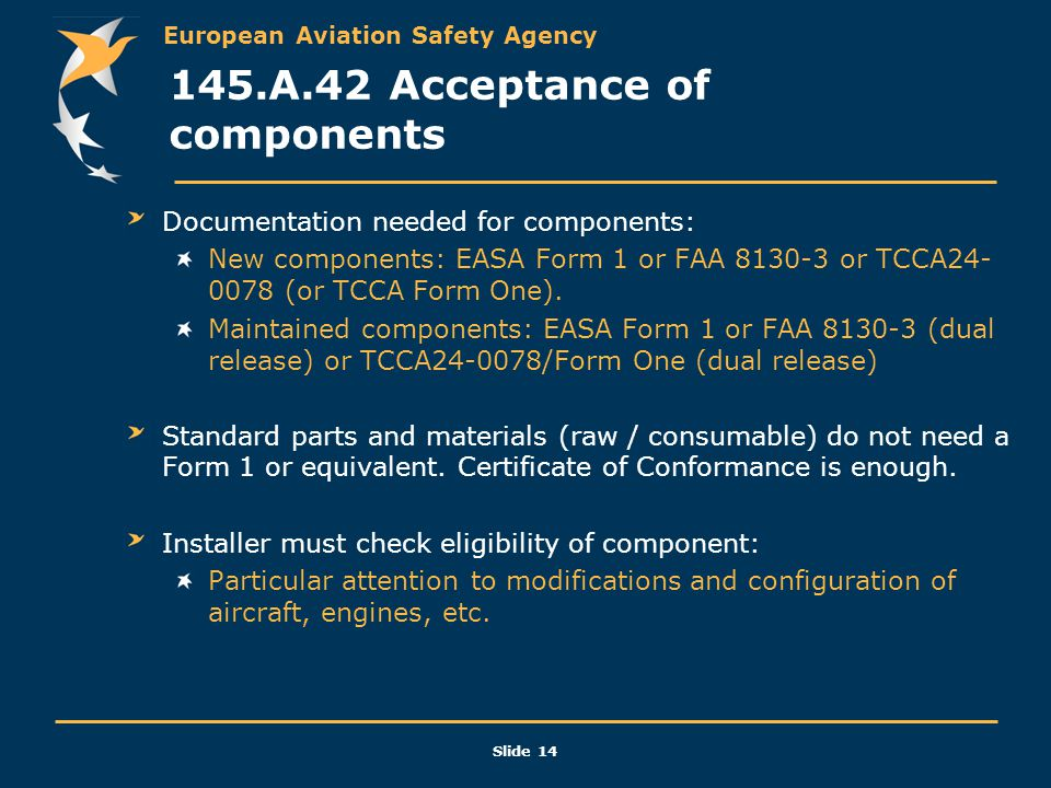 145.A.42 Acceptance of components