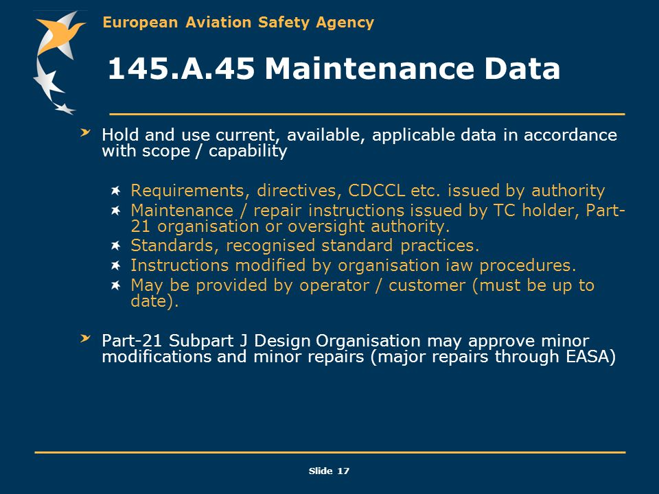 145.A.45 Maintenance Data Hold and use current, available, applicable data in accordance with scope / capability.