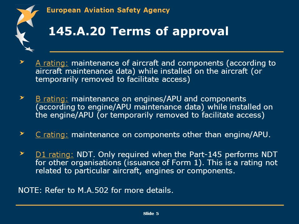 145.A.20 Terms of approval