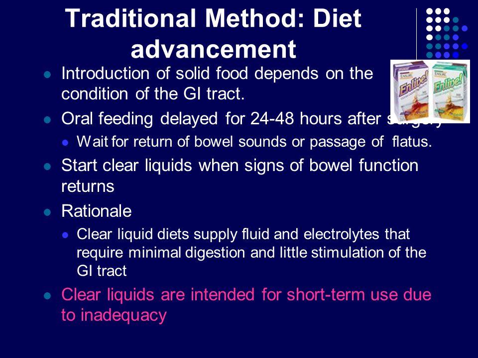 Traditional Method: Diet advancement