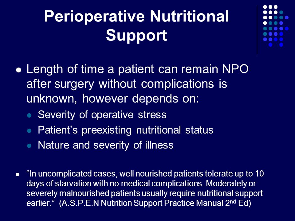 Perioperative Nutritional Support