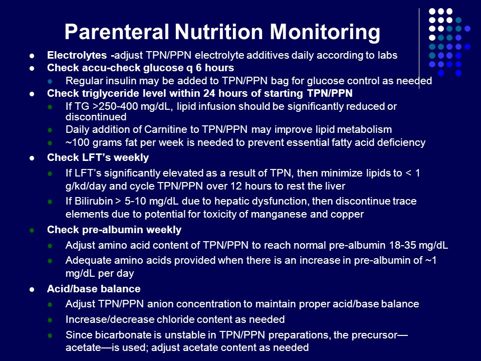 Parenteral Nutrition Monitoring
