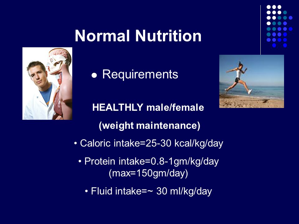 Normal Nutrition Requirements HEALTHLY male/female