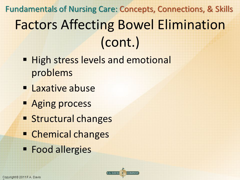 Factors Affecting Bowel Elimination (cont.)
