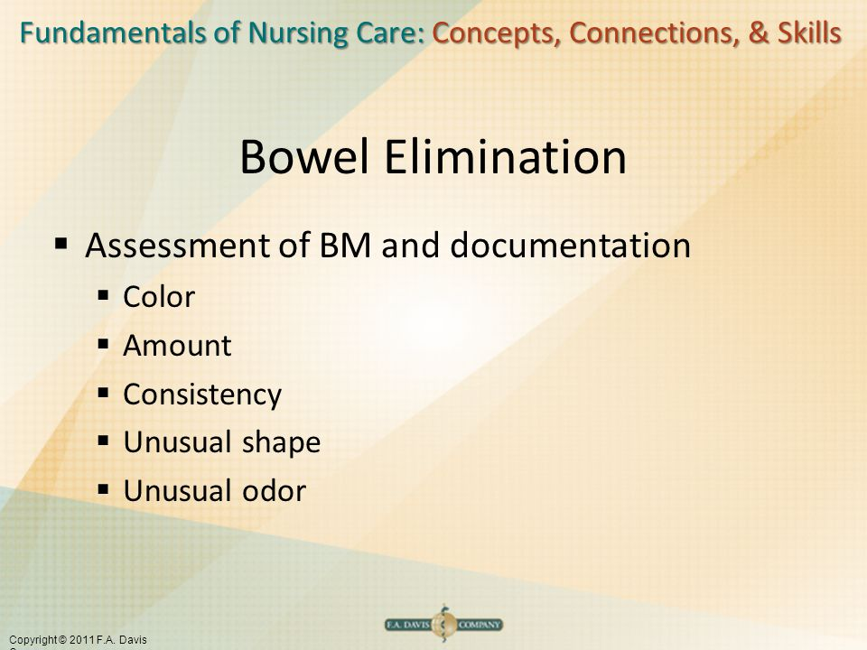 Bowel Elimination Assessment of BM and documentation Color Amount