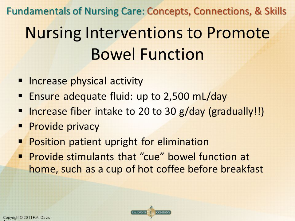 Nursing Interventions to Promote Bowel Function
