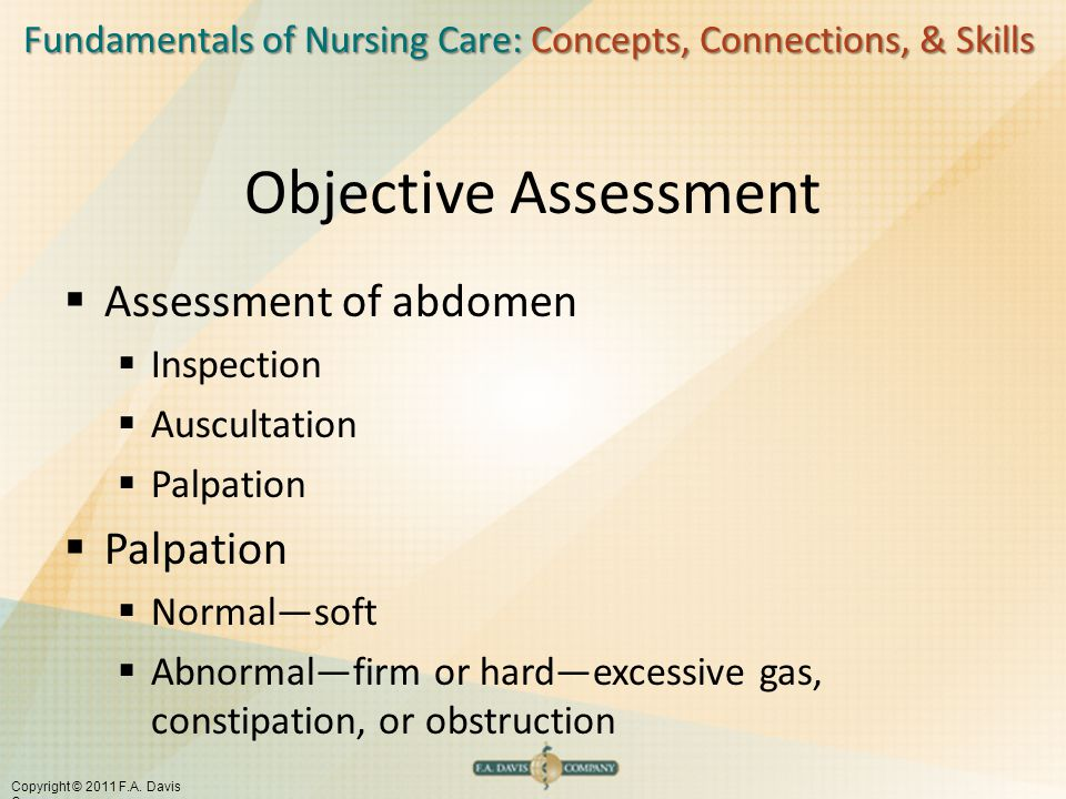 Objective Assessment Assessment of abdomen Inspection Auscultation