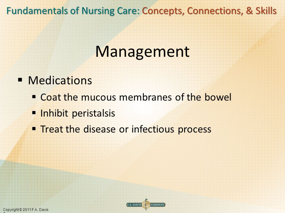 Management Medications Coat the mucous membranes of the bowel