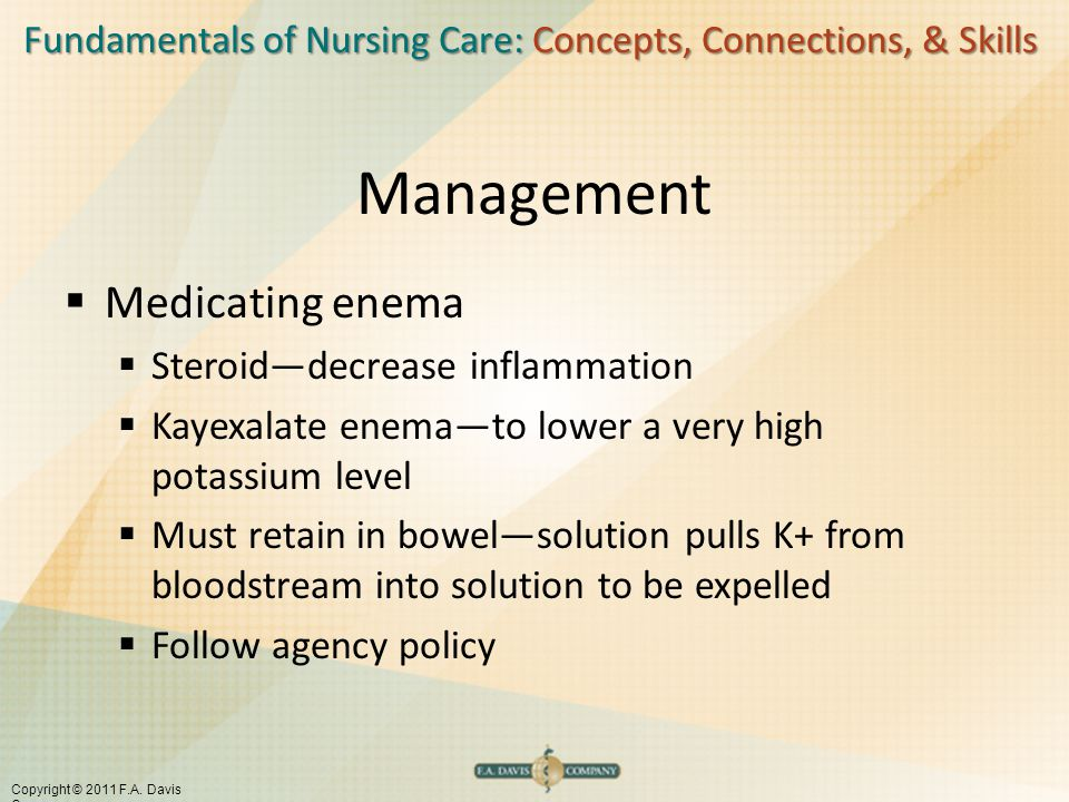 Management Medicating enema Steroid—decrease inflammation