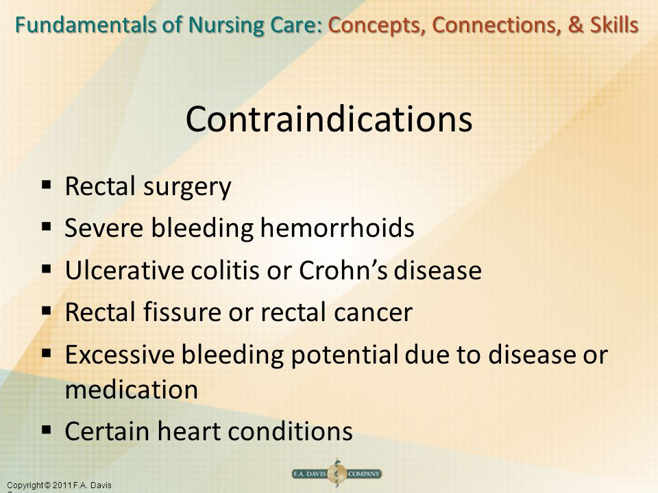 Contraindications Rectal surgery Severe bleeding hemorrhoids
