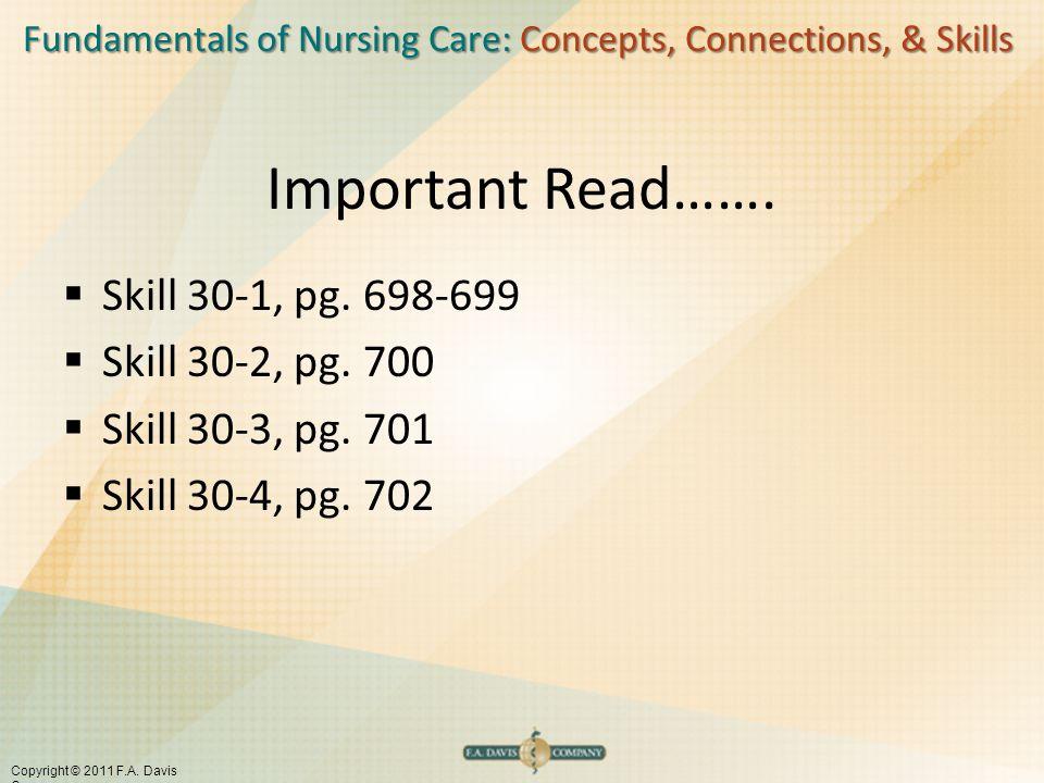 Important Read……. Skill 30-1, pg. 698-699 Skill 30-2, pg. 700