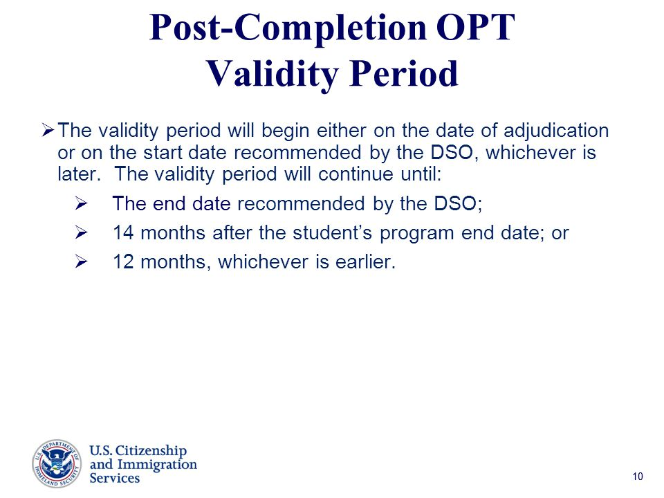 Post-Completion OPT Validity Period