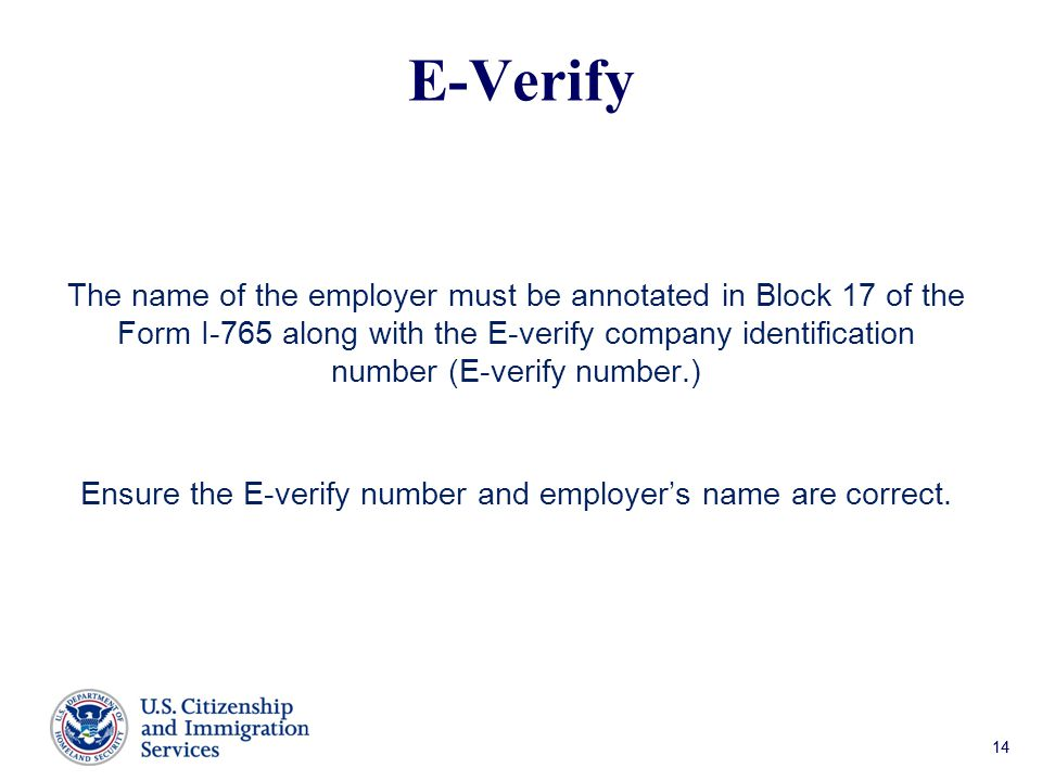Ensure the E-verify number and employer's name are correct.