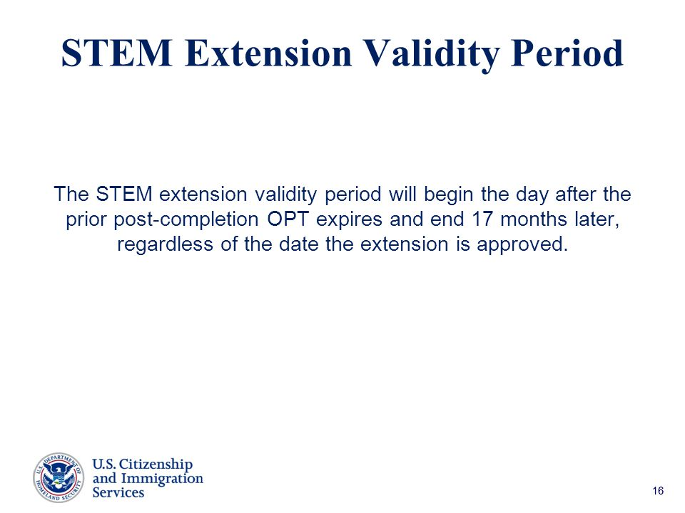 STEM Extension Validity Period