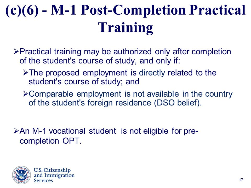 (c)(6) - M-1 Post-Completion Practical Training