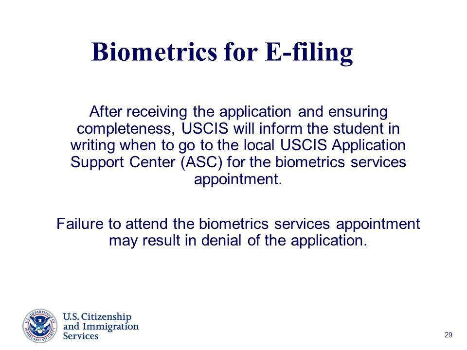 Biometrics for E-filing