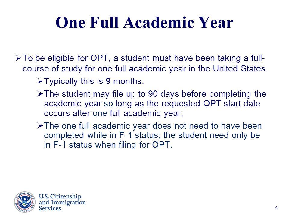 One Full Academic Year