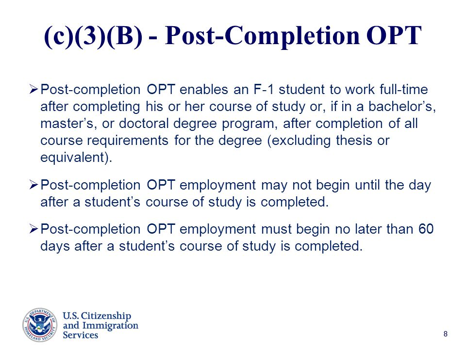 (c)(3)(B) - Post-Completion OPT