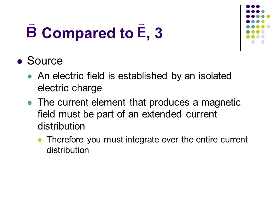 Compared to , 3 Source. An electric field is established by an isolated electric charge.