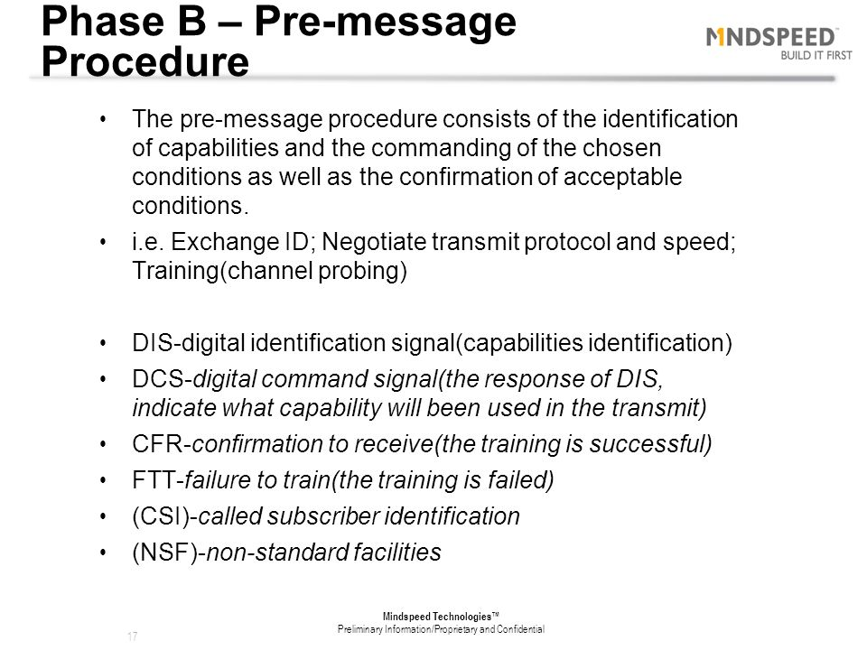Phase B – Pre-message Procedure