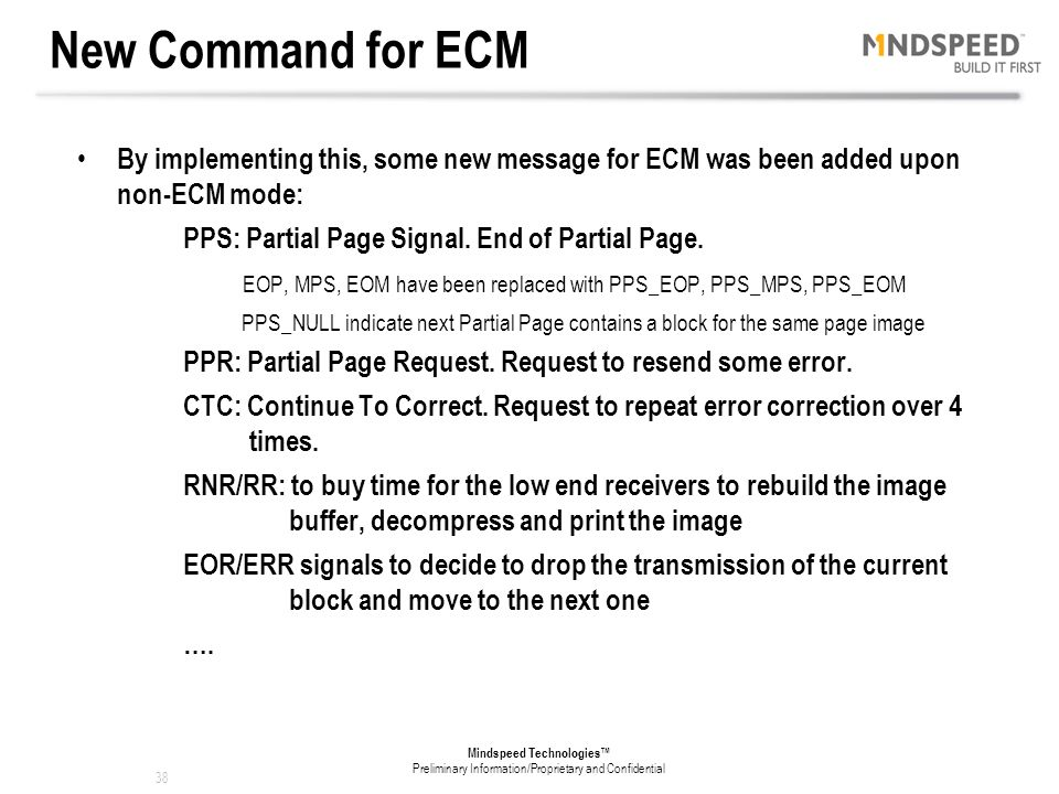 New Command for ECM By implementing this, some new message for ECM was been added upon non-ECM mode:
