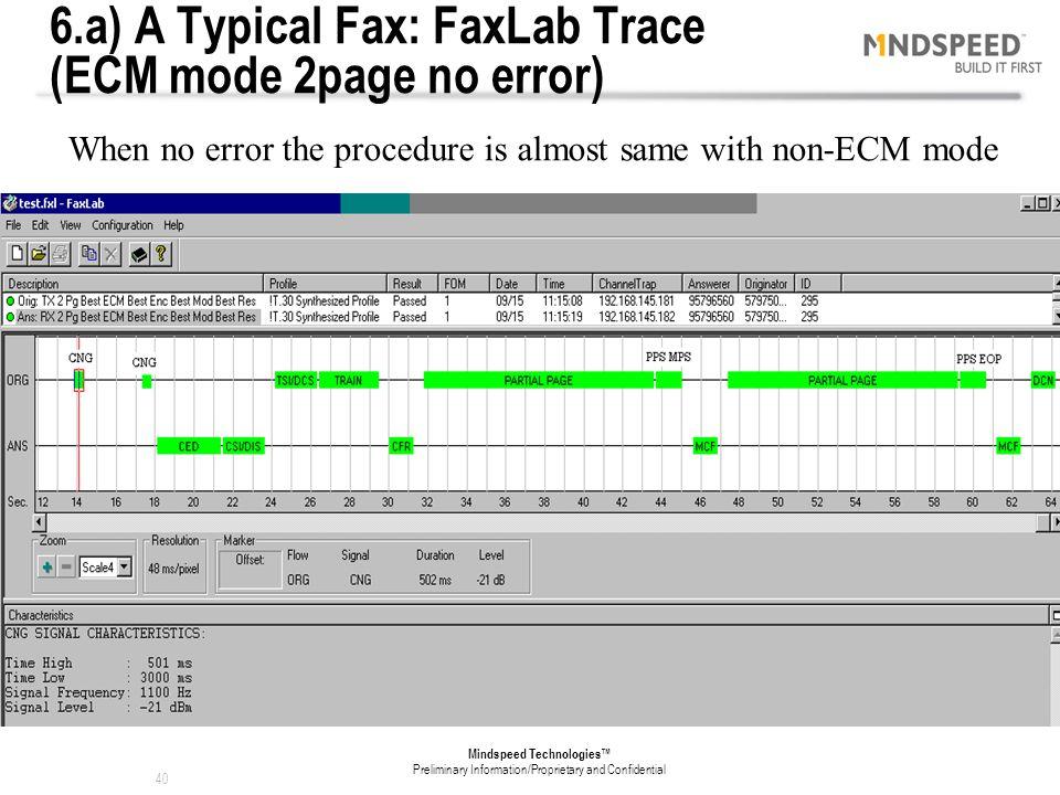 6.a) A Typical Fax: FaxLab Trace (ECM mode 2page no error)