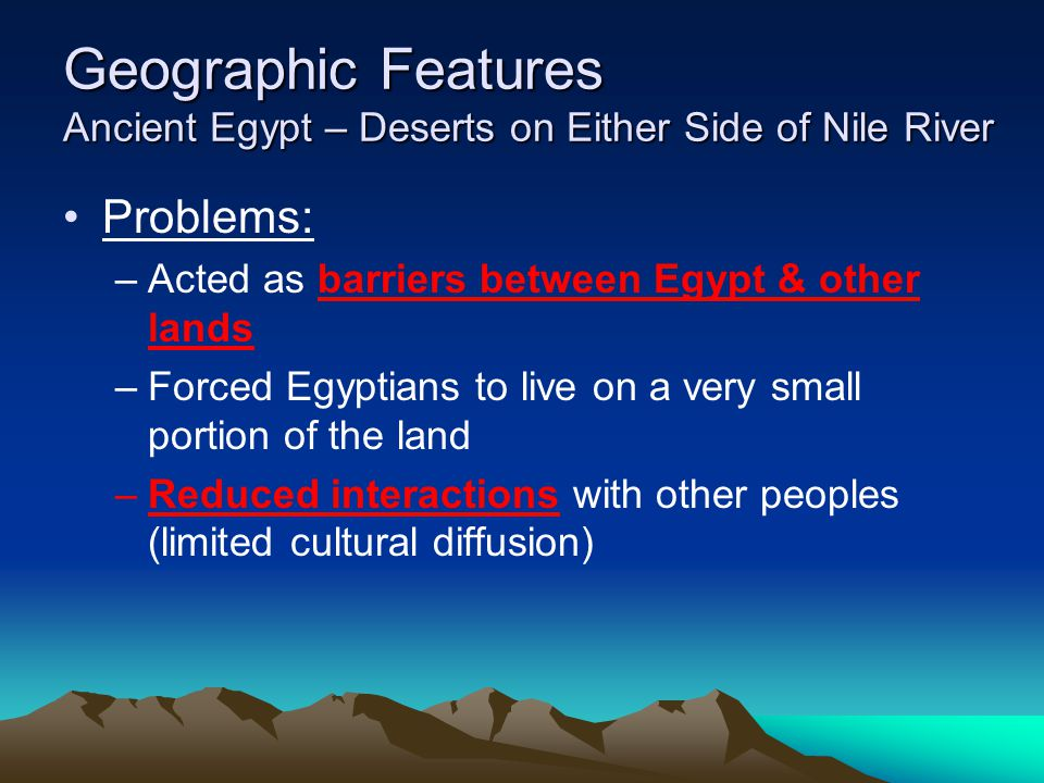 Geographic Features Ancient Egypt – Deserts on Either Side of Nile River