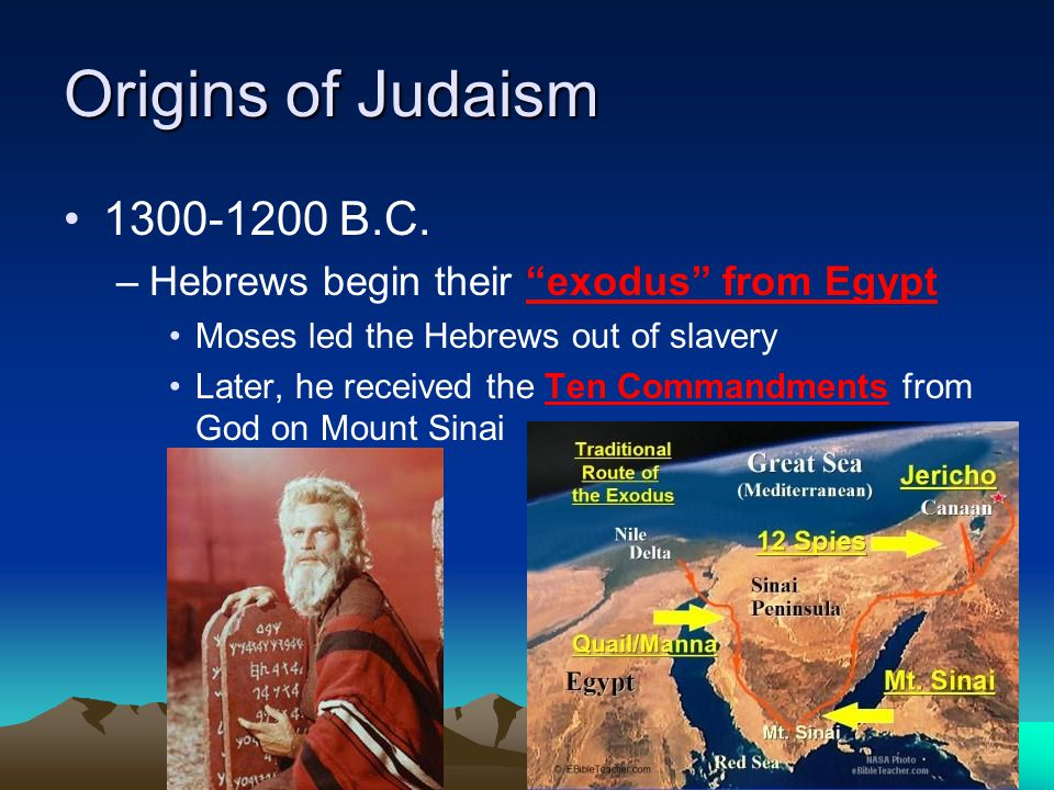 Origins of Judaism 1300-1200 B.C. Hebrews begin their exodus from Egypt. Moses led the Hebrews out of slavery.