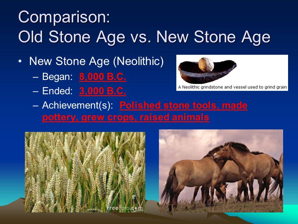 Comparison: Old Stone Age vs. New Stone Age