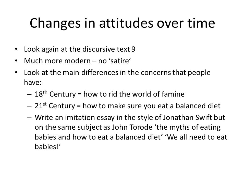 Changes in attitudes over time