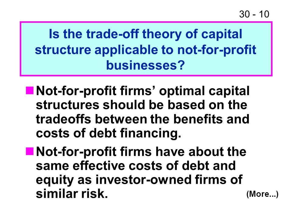 Is the trade-off theory of capital structure applicable to not-for-profit businesses