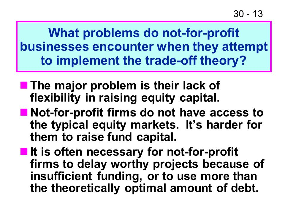 What problems do not-for-profit businesses encounter when they attempt to implement the trade-off theory