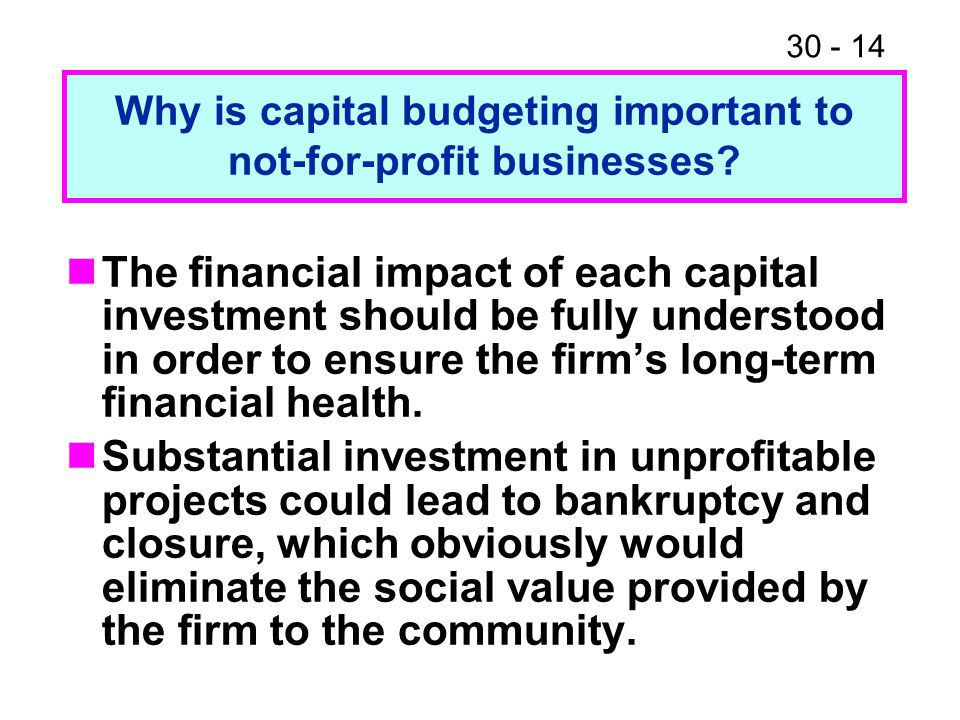 Why is capital budgeting important to not-for-profit businesses