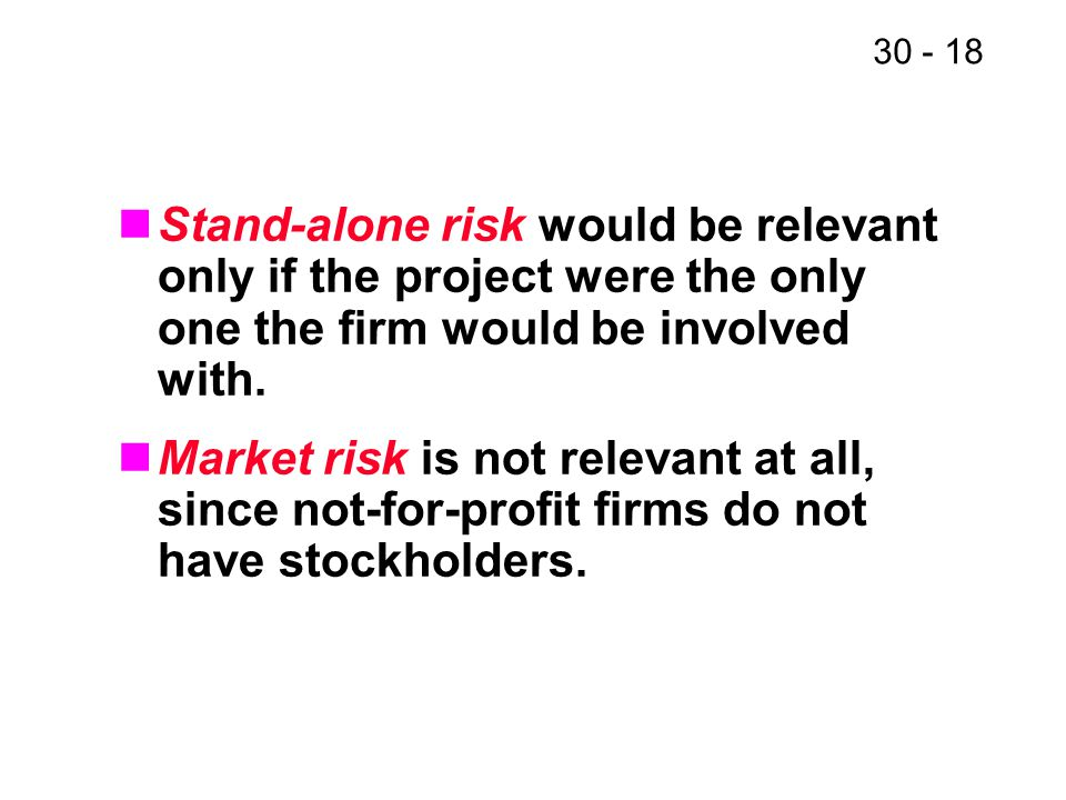 Stand-alone risk would be relevant only if the project were the only one the firm would be involved with.