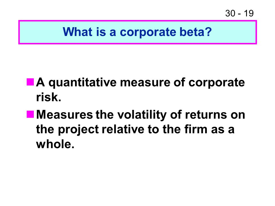 What is a corporate beta