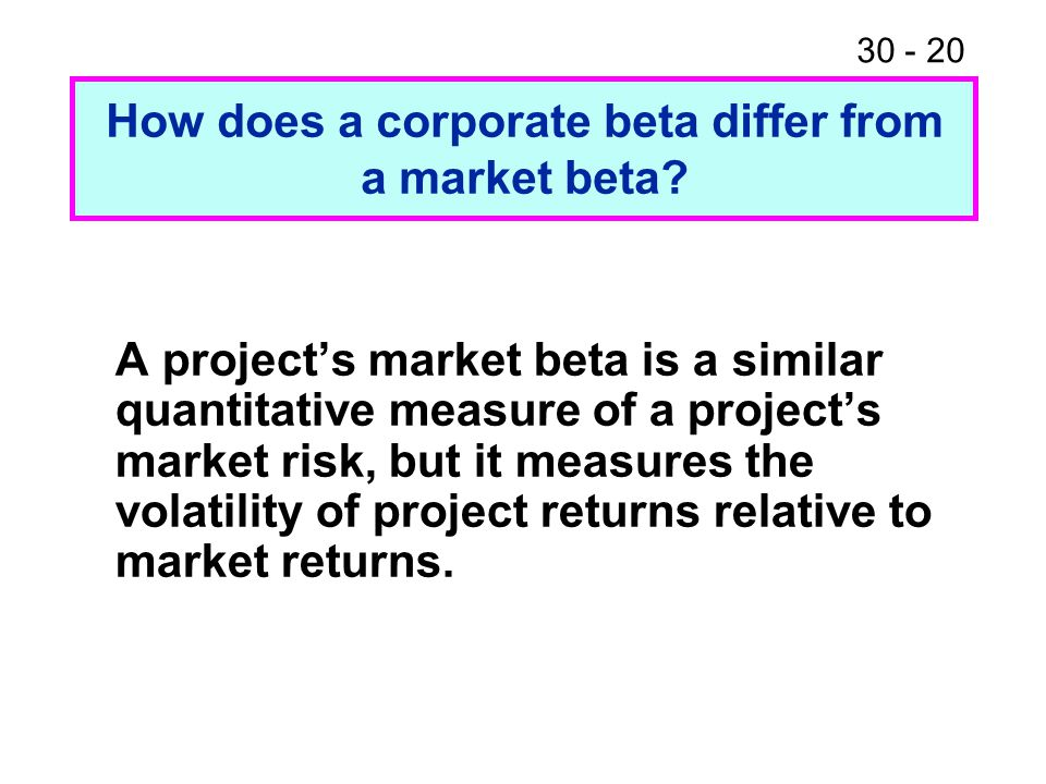 How does a corporate beta differ from a market beta