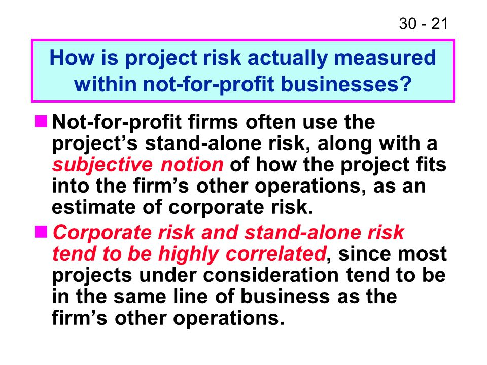 How is project risk actually measured within not-for-profit businesses