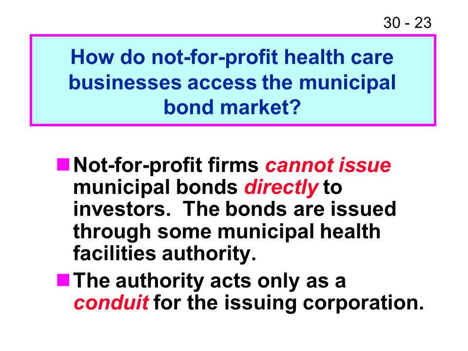 How do not-for-profit health care businesses access the municipal bond market