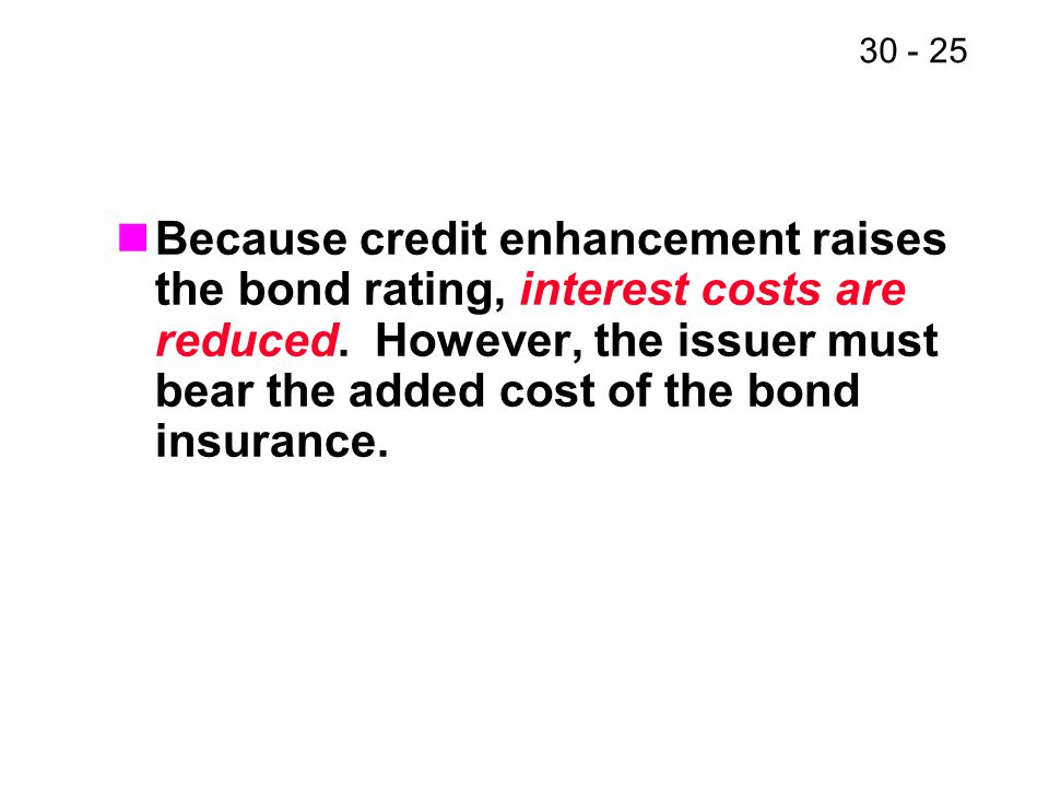 Because credit enhancement raises the bond rating, interest costs are reduced.