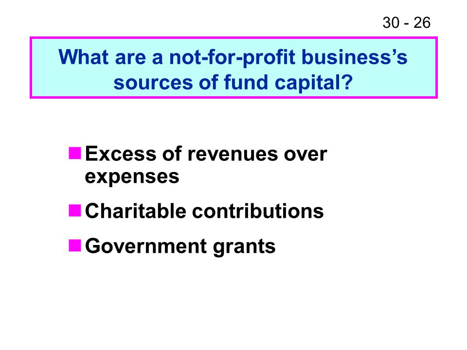 What are a not-for-profit business's sources of fund capital
