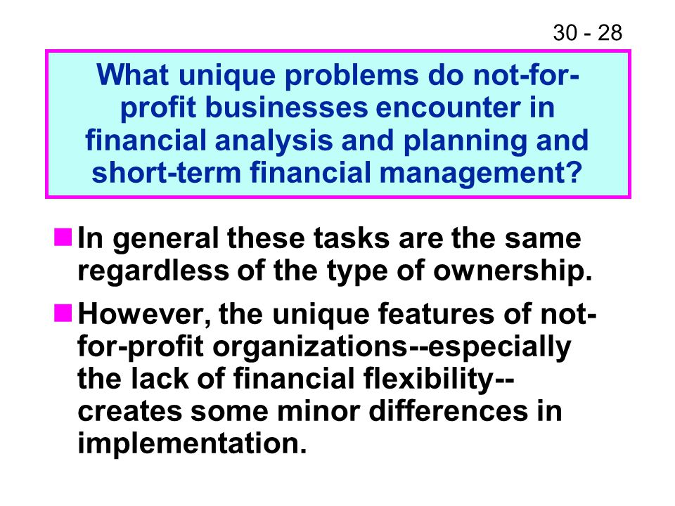 What unique problems do not-for-profit businesses encounter in financial analysis and planning and short-term financial management