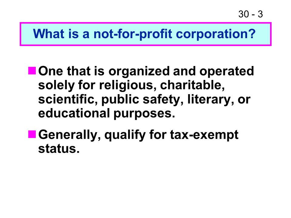 What is a not-for-profit corporation