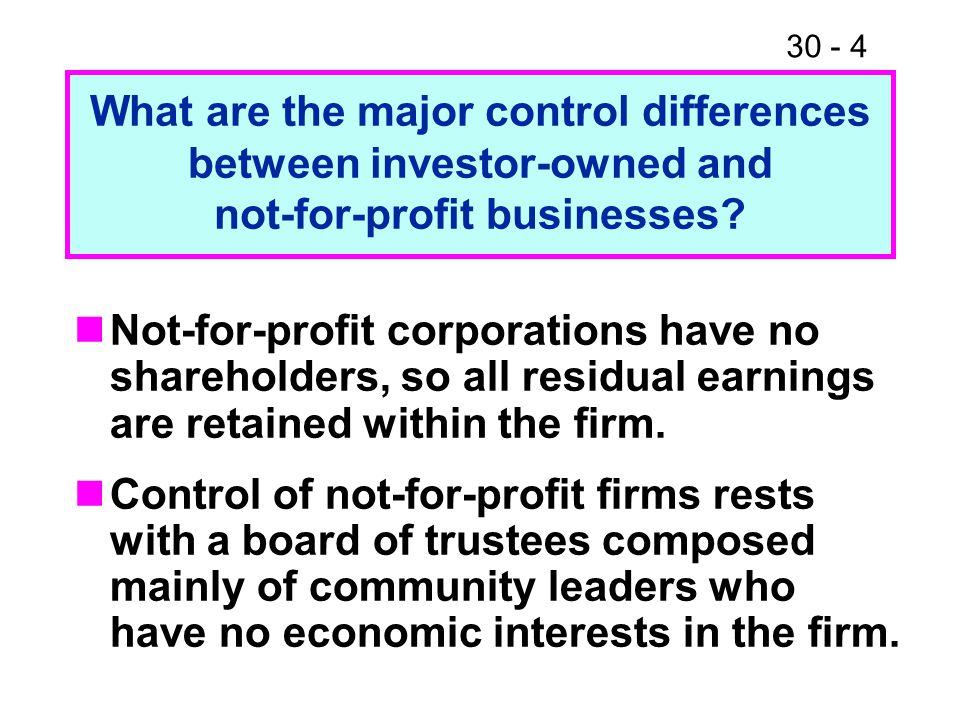 What are the major control differences between investor-owned and not-for-profit businesses