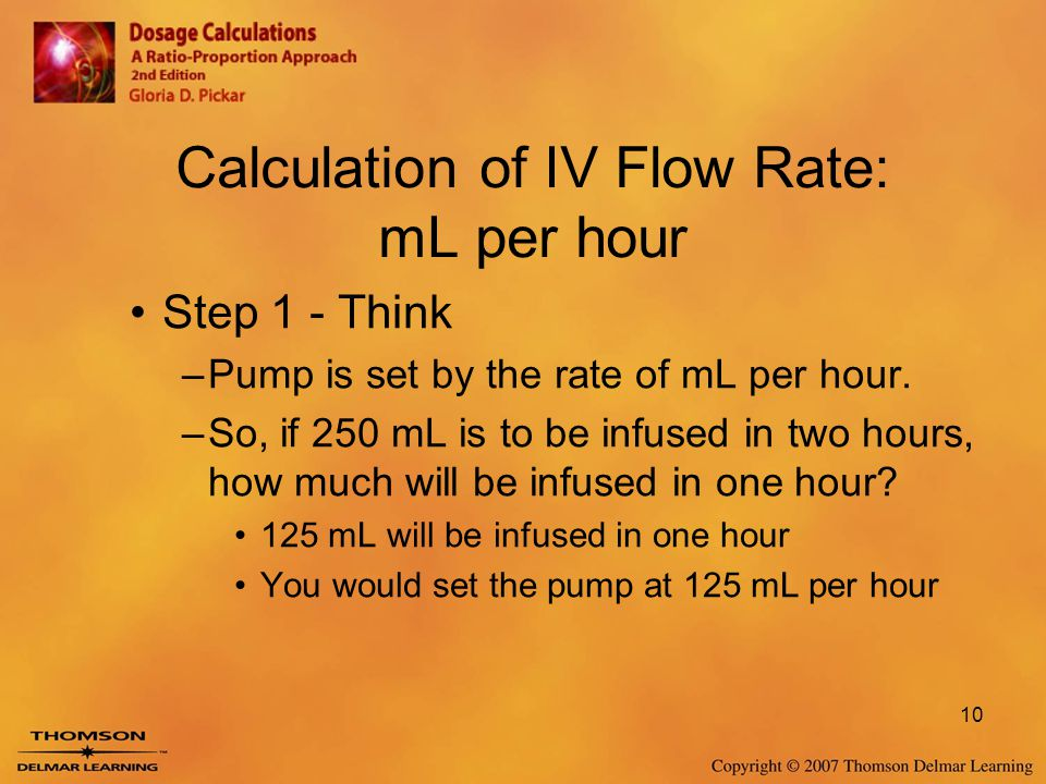 Calculation of IV Flow Rate: mL per hour